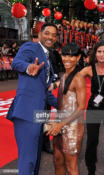 Will Smith and Jada Pinkett Smith attend the UK Film Premiere of The Karate Kid at Odeon Leicester Square on July 15 2010 in London England