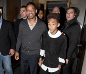 Will Smith and Jaden Smith sighting leaving Nobu Retaurant Mayfair on May 24 2013 in London England