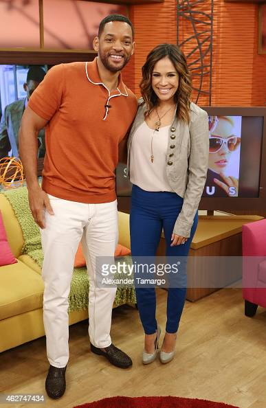 Will Smith and Karla Martinez are seen on the set of Despierta America to promote his film 'Focus' at Univision Studios on February 4 2015 in Miami...