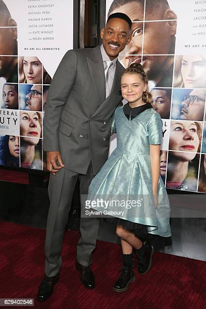Will Smith and Kylie Rogers attend 'Collateral Beauty' World Premiere Arrivals at Frederick P Rose Hall Jazz at Lincoln Center on December 12 2016 in...