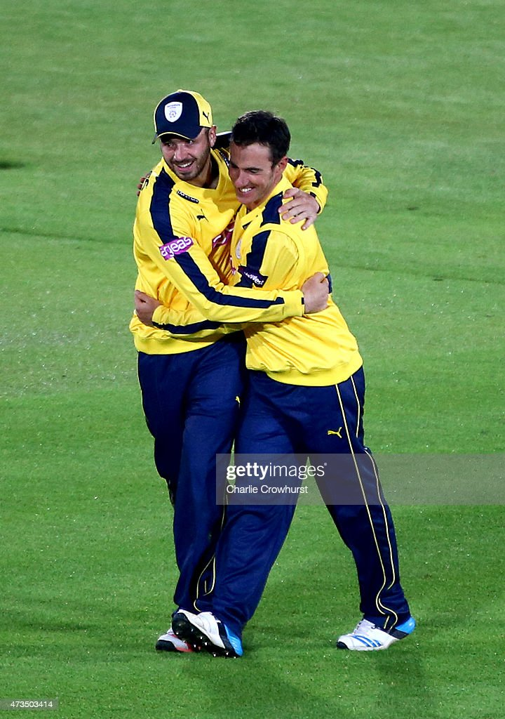 Will Smith celebrates with Hampshire team mate James Vince after taking the wicket of Gregory Smith of Essex during the Natwest T20 Blast match...