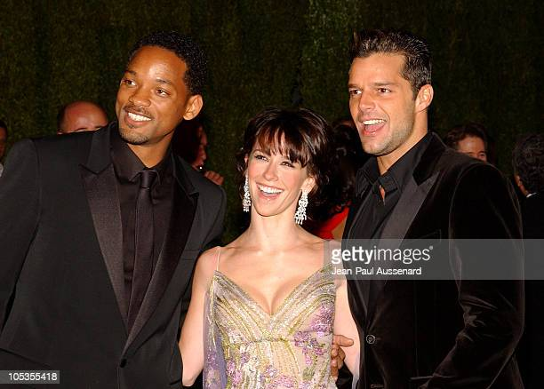 Will Smith Jennifer Love Hewitt and Ricky Martin during 2004 Vanity Fair Oscar Party Arrivals at Mortons in Beverly Hills California United States