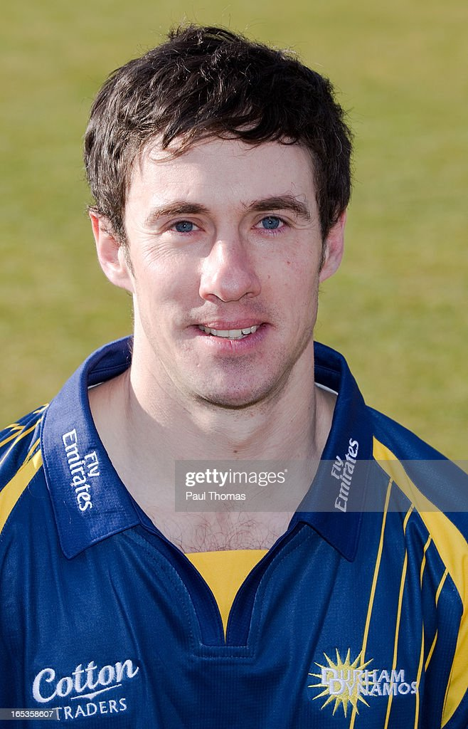 Will Smith of Durham CCC wears the Yorkshire Bank 40 kit during a pre-season photocall at The Riverside on April 3, 2013 in Chester-le-Street, England.