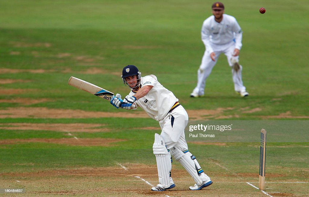 Will Smith of Durham plays a shot during the LV County Championship match between Derbyshire and Durham at The County Ground on September 13, 2013 in Derby, England.