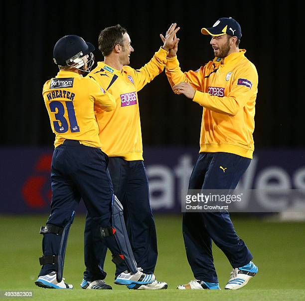 Will Smith of Hampshire celebrtes bowling out Rory HamiltonBrown of Sussex with team mates James Vince and Adam Wheater during the Natwest T20 Blast...