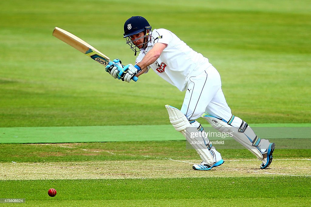 Will Smith of Hampshire hits out during Day 2 of the LV County Championship Division One match between Hampshire and Worcestershire at Ageas Bowl on...