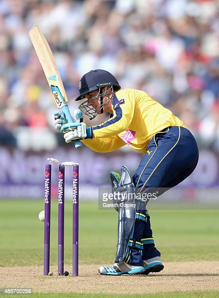 Will Smith of Hampshire is bowled by James Faulkner of Lancashire during the NatWest T20 Blast Semi Final between Hampshire Hawks and Lancashire...