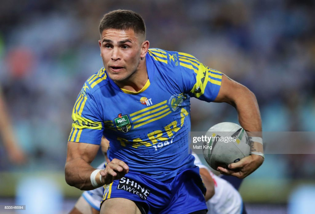 Will Smith of the Eels beats the defence to score the final try during the round 24 NRL match between the Parramatta Eels and the Gold Coast Titans at ANZ Stadium on August 17, 2017 in Sydney, Australia.