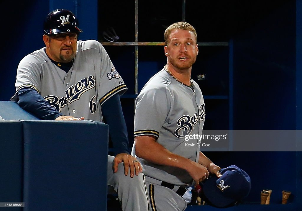 Will Smith of the Milwaukee Brewers reacts after being ejected by second base umpire Jim Joyce in the seventh inning against the Atlanta Braves at...