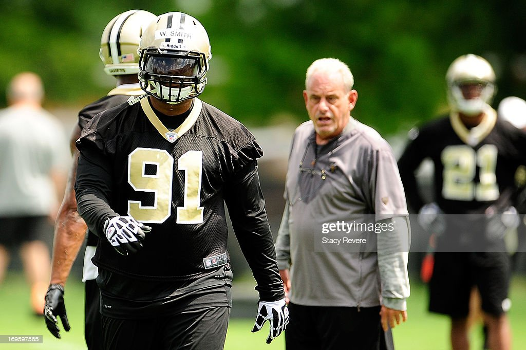 Will Smith #91 of the New Orleans Saints participates in drills during organized team activities, OTA's, at the Saints training facility on May 23, 2013 in Metairie, Louisiana.