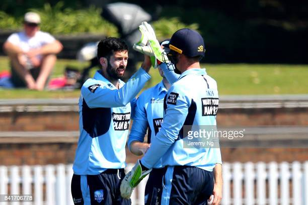 Will Somerville of Cricket NSW celebrates a wicket with Jay Lenton during the Cricket NSW Intra Squad Match at Hurstville Oval on September 2 2017 in...