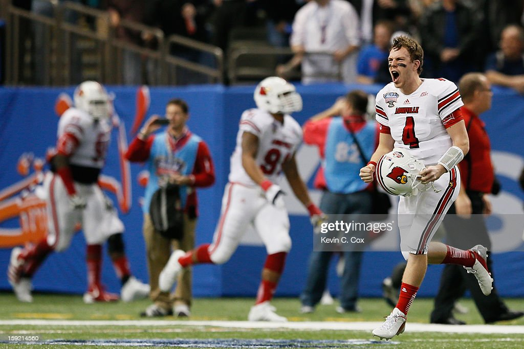Will Stein #4 of the Louisville Cardinals reacts against the Florida Gators during the Allstate Sugar Bowl at Mercedes-Benz Superdome on January 2, 2013 in New Orleans, Louisiana.