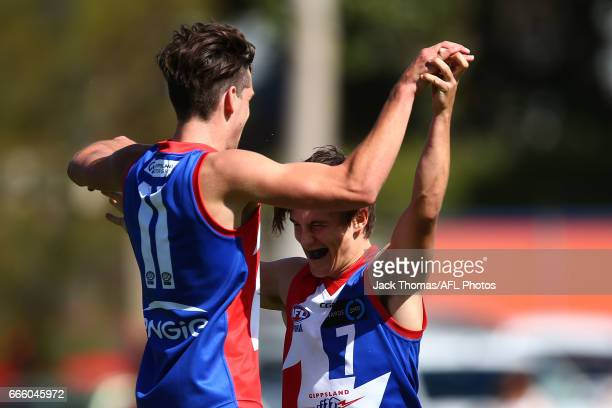 Will Stephenson of the Power celebrates a goal during the round three TAC Cup match between XXXX and XXXX at Queen Elizabeth Oval on April 8 2017 in...