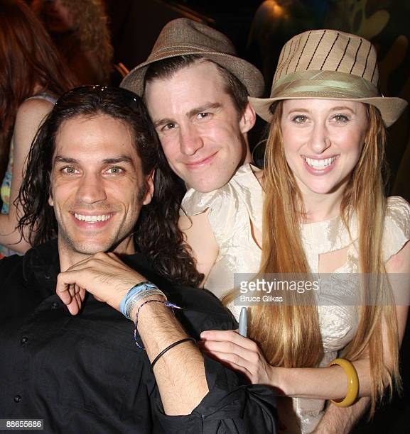 Will Swenson Gavin Creel and Caissie Levy pose at the cast recording signing of 'HAIR The American Tribal LoveRock Musical' on stage at the Al...