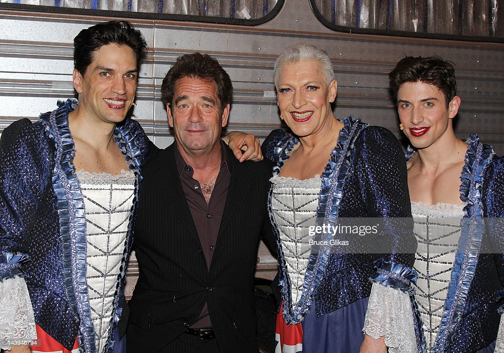 Will Swenson, <a gi-track='captionPersonalityLinkClicked' href=/galleries/search?phrase=Huey+Lewis&family=editorial&specificpeople=243178 ng-click='$event.stopPropagation()'>Huey Lewis</a>, <a gi-track='captionPersonalityLinkClicked' href=/galleries/search?phrase=Tony+Sheldon&family=editorial&specificpeople=556032 ng-click='$event.stopPropagation()'>Tony Sheldon</a> and Nick Adams pose backstage at the hit musical 'Priscilla Queen of the Desert' on Broadway at The Palace Theater on May 5, 2012 in New York City.