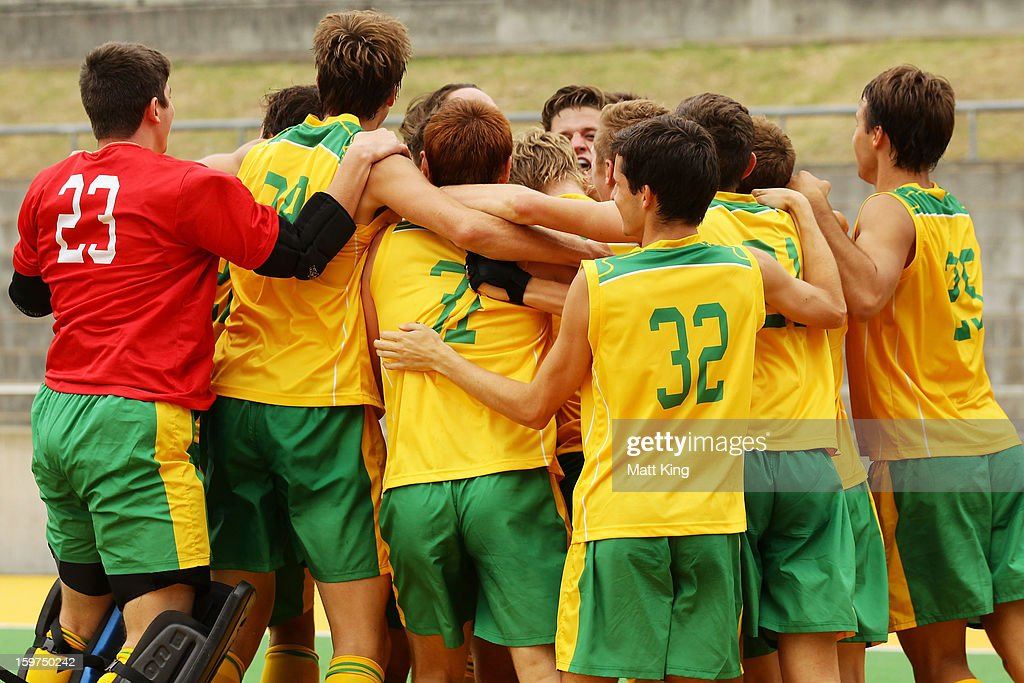 Will The Australian celebrate winning the Gold Medal match against Great Britain during day five of the Australian Youth Olympic Festival at Sydney Olympic Park Hockey Centre on January 20, 2013 in Sydney, Australia.