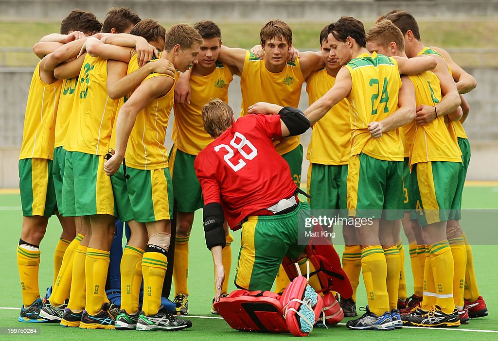 Will The Australian team celebrate winning the Gold Medal match against Great Britain during day five of the Australian Youth Olympic Festival at Sydney Olympic Park Hockey Centre on January 20, 2013 in Sydney, Australia.
