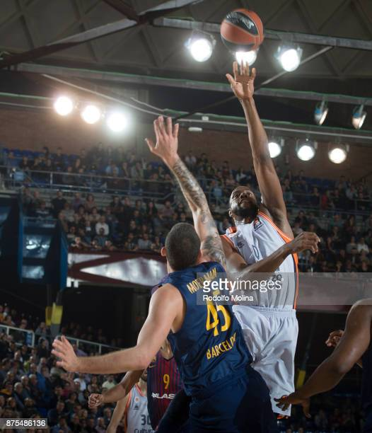 Will Thomas #0 of Valencia Basket in action during the 2017/2018 Turkish Airlines EuroLeague Regular Season Round 8 game between FC Barcelona Lassa...