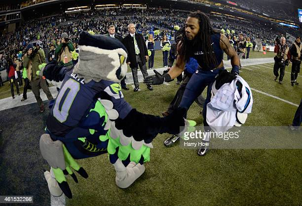 Will Tukuafu of the Seattle Seahawks celebrates after defeating the Carolina Panthers in the 2015 NFC Divisional Playoff game at CenturyLink Field on...