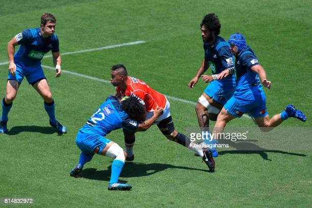 Will Tupou of Sunwolves runs with the ball during the Super Rugby match between the Sunwolves and the Blues at Prince Chichibu Stadium on July 15...
