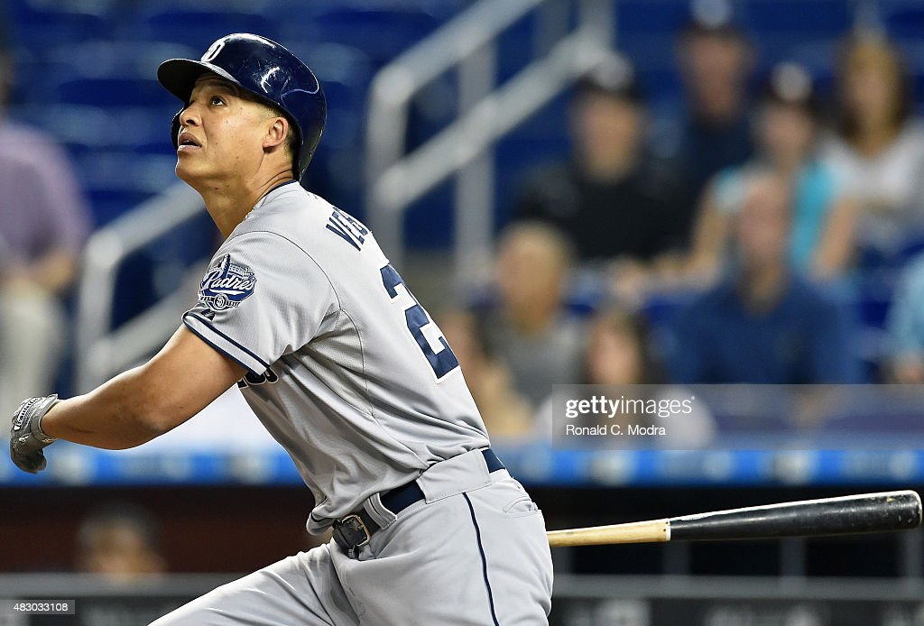 Will Venable of the San Diego Padres bats during a MLB game against the Miami Marlins at Marlins Park on August 1 2015 in Miami Florida