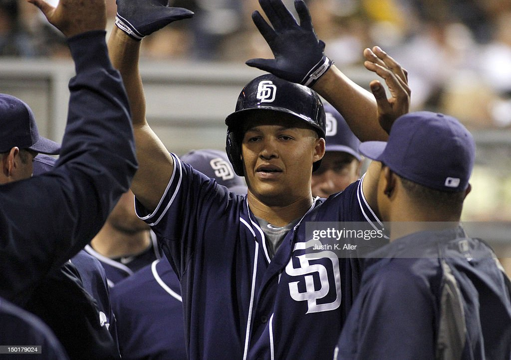 <a gi-track='captionPersonalityLinkClicked' href=/galleries/search?phrase=Will+Venable&family=editorial&specificpeople=3068470 ng-click='$event.stopPropagation()'>Will Venable</a> #25 of the San Diego Padres celebrates after hitting a home run in the sixth inning against the Pittsburgh Pirates during the game on August 11, 2012 at PNC Park in Pittsburgh, Pennsylvania.
