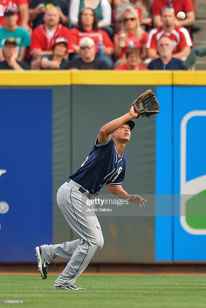 Will Venable of the San Diego Padres fields a fly ball against the Cincinnati Reds at Great American Ball Park on June 5 2015 in Cincinnati Ohio