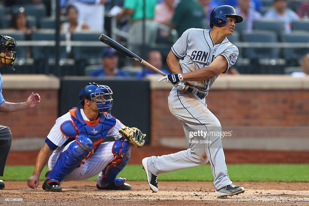 Will Venable of the San Diego Padres hits a RBI single in the second inning against the New York Mets at Citi Field on July 29 2015 in Flushing...