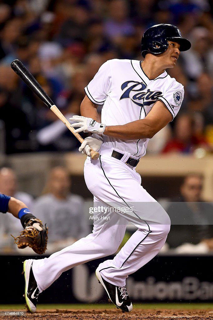 Will Venable of the San Diego Padres hits during the game against the Chicago Cubs at Petco Park on May 21 2015 in San Diego California