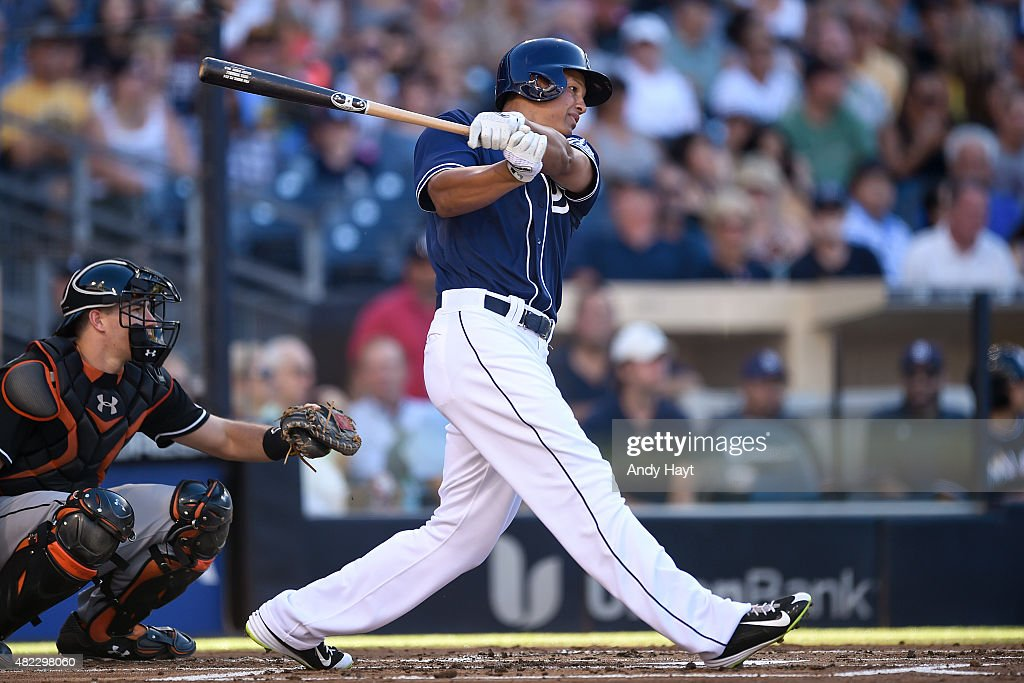 Will Venable of the San Diego Padres hits during the game against the Miami Marlins at Petco Park on July 25 2015 in San Diego California