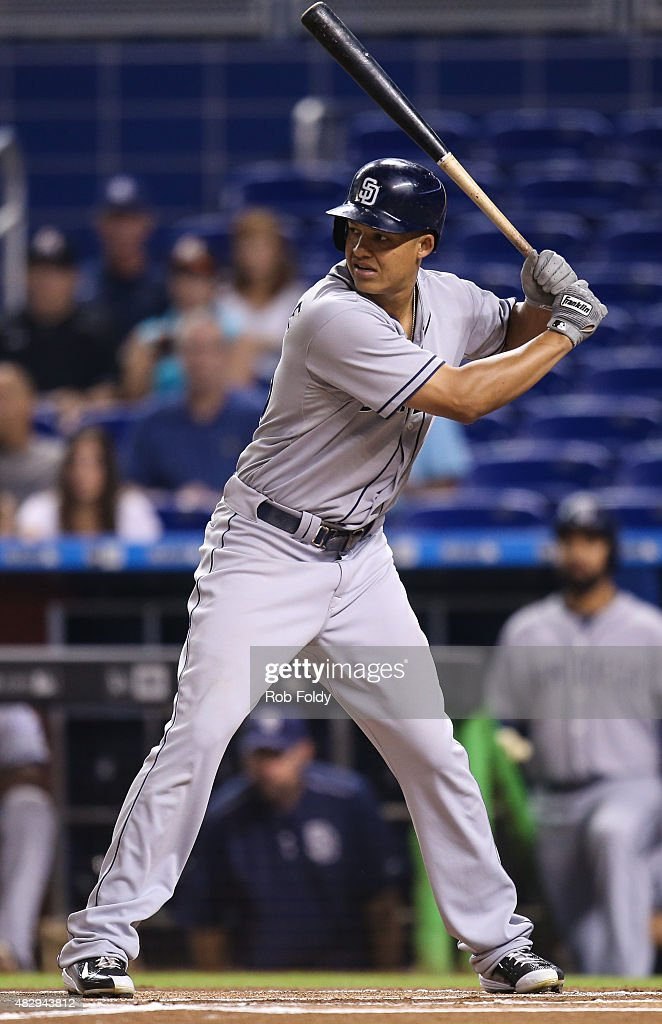 Will Venable of the San Diego Padres in action during the game against the Miami Marlins at Marlins Park on August 1 2015 in Miami Florida