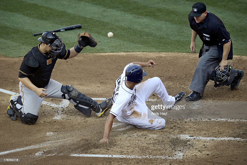 <a gi-track='captionPersonalityLinkClicked' href=/galleries/search?phrase=Will+Venable&family=editorial&specificpeople=3068470 ng-click='$event.stopPropagation()'>Will Venable</a> #25 of the San Diego Padres scores ahead of the throw to Russell Martin #55 of the Pittsburgh Pirates at Petco Park on August 21, 2013 in San Diego, California.
