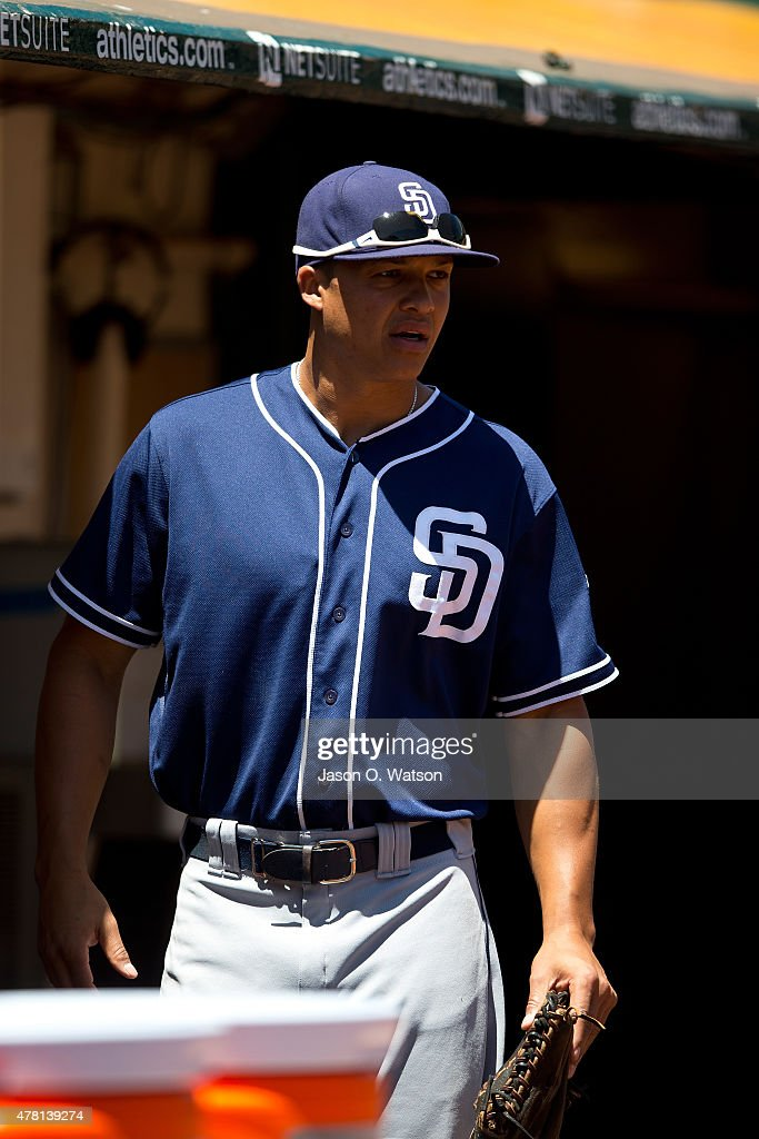 Will Venable of the San Diego Padres stands in the dugout before the game against the Oakland Athletics at Oco Coliseum on June 18 2015 in Oakland...
