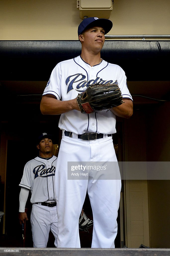 Will Venable of the San Diego Padres walks to the dugout prior to the game against the Los Angeles Dodgers at Petco Park on April 2 2014 in San Diego...