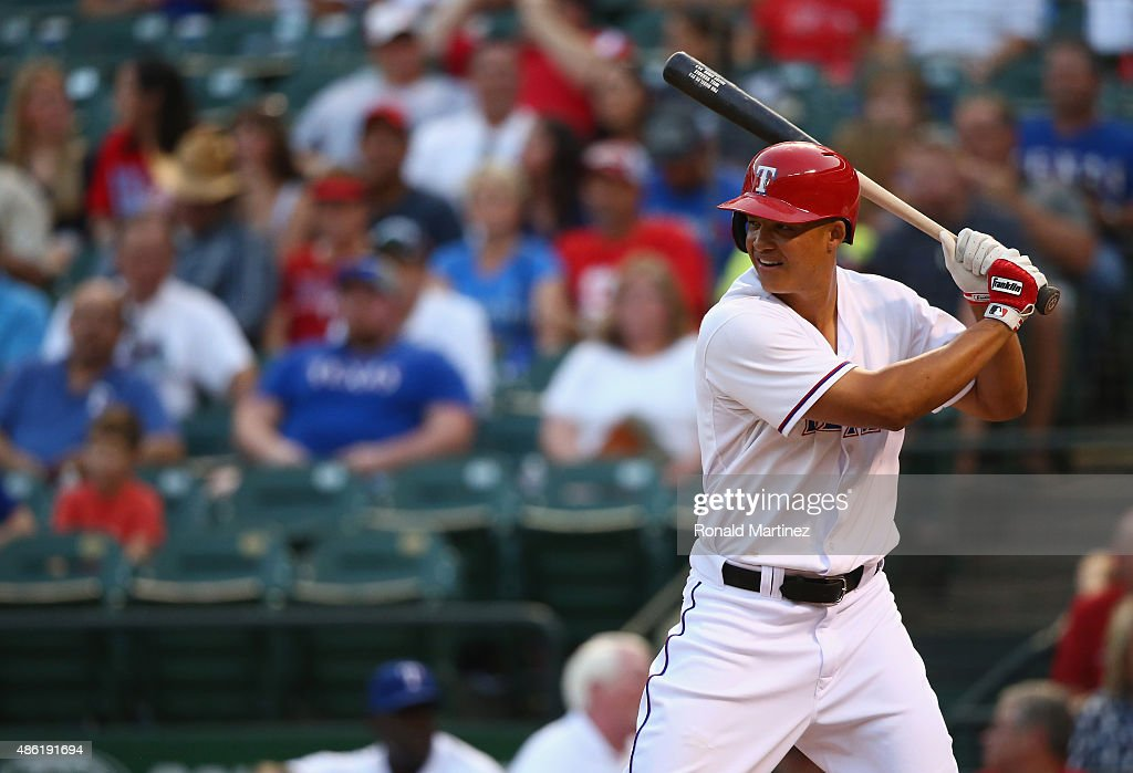 Will Venable of the Texas Rangers at Globe Life Park in Arlington on August 28 2015 in Arlington Texas