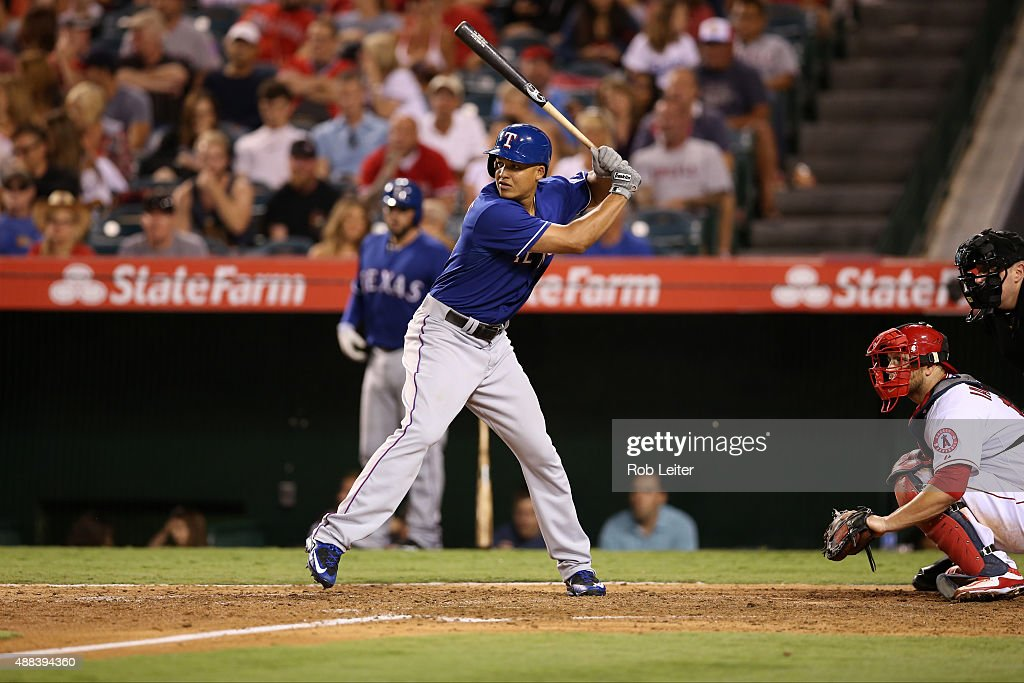 Will Venable of the Texas Rangers bats during the game against the Los Angeles Angels of Anaheim at Angel Stadium on September 5 2015 in Anaheim...