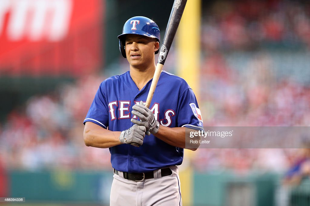 Will Venable of the Texas Rangers looks on during the game against the Los Angeles Angels of Anaheim at Angel Stadium on September 5 2015 in Anaheim...