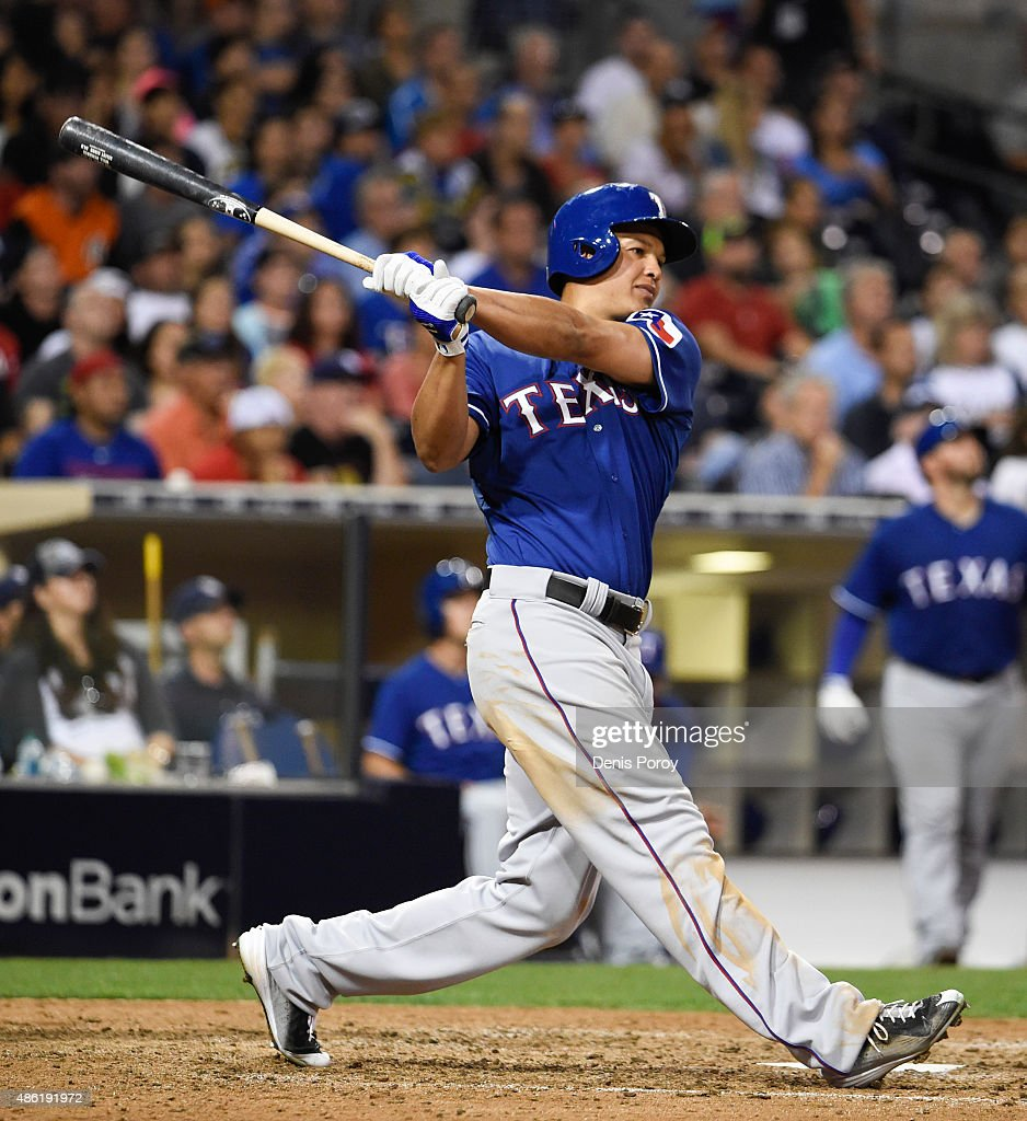 Will Venable of the Texas Rangers plays during a baseball game against the San Diego Padres at Petco Park August 2015 in San Diego California