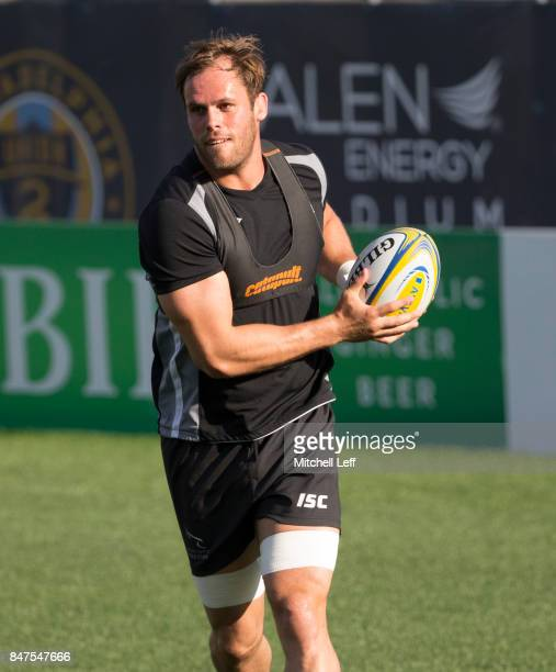 Will Welch of the Newcastle Falcons warms up during practice at Talen Energy Stadium on September 15 2017 in Philadelphia Pennsylvania