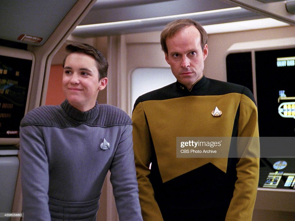 Will Wheaton as Wesley Crusher and Dwight Schultz as Lt Reg Barkley in the STAR TREK THE NEXT GENERATION episode 'Hollow Pursuits' Original air date...
