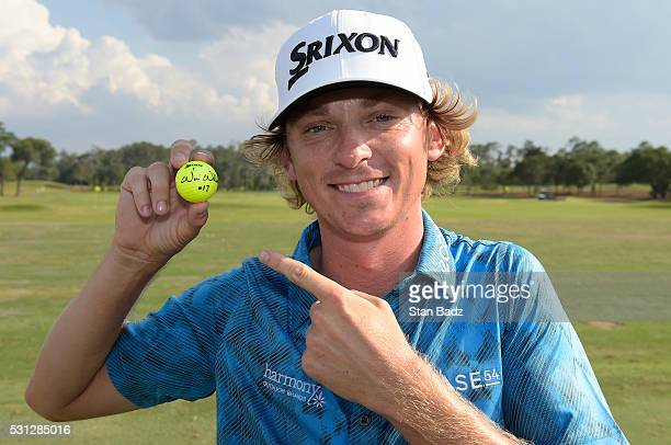 Will Wilcox poses with his golf ball after the second round after making a holeinone on the 17th hole at THE PLAYERS Championship on THE PLAYERS...