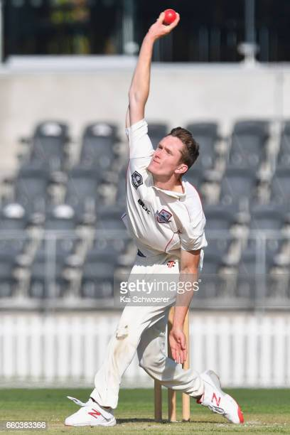 Will Williams of Canterbury bowling during the Plunket Shield match between Canterbury and Wellington on March 30 2017 in Christchurch New Zealand