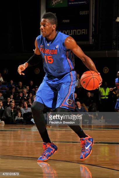Will Yeguete of the Florida Gators plays against the Vanderbilt Commodores at Memorial Gym on February 25 2014 in Nashville Tennessee