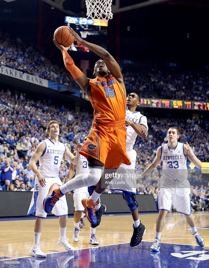 Will Yeguete #15 of the Florida Gators shoots the ball during the game against the Kentucky Wildcats at Rupp Arena on March 9, 2013 in Lexington, Kentucky.