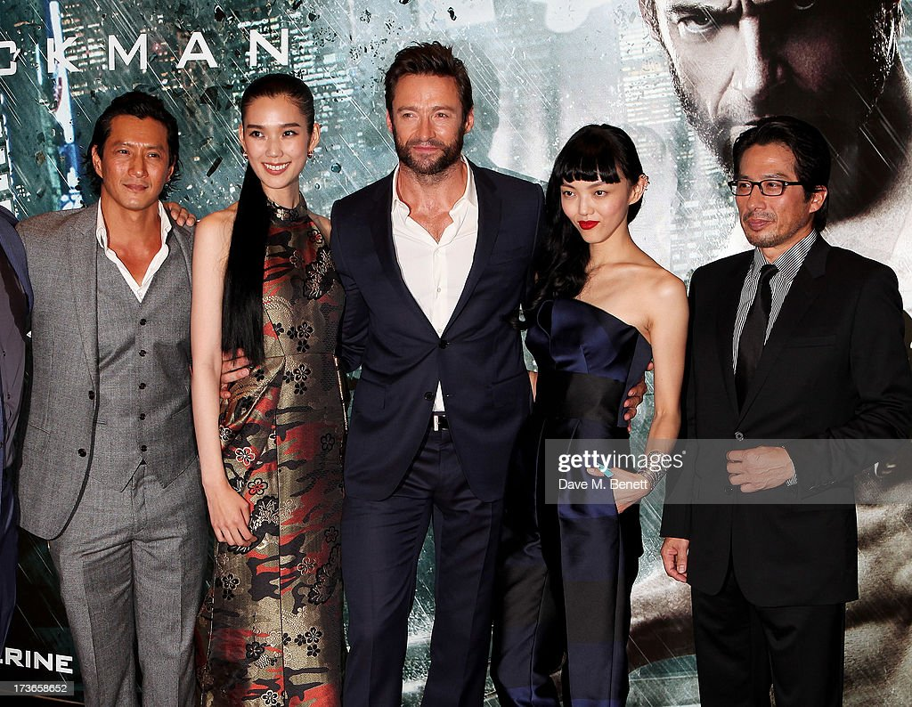 Will Yun Lee, Tao Okamoto, Hugh Jackman, Rila Fukushima and Hiroyuki Sanada attend the UK Premiere of 'The Wolverine' at Empire Leicester Square on July 16, 2013 in London, England.