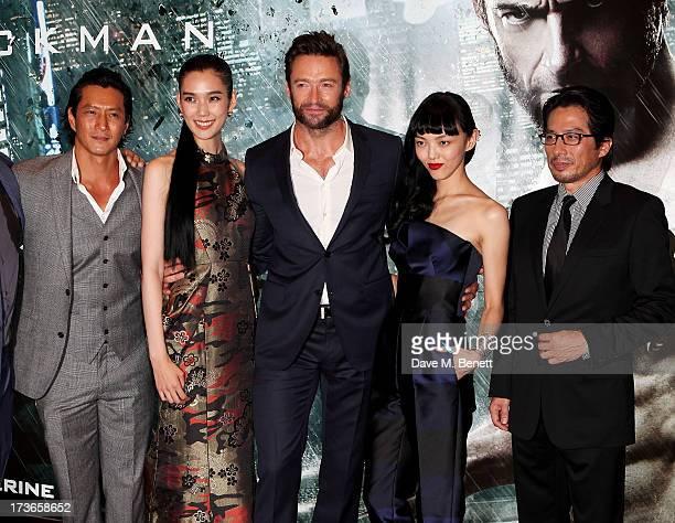 Will Yun Lee Tao Okamoto Hugh Jackman Rila Fukushima and Hiroyuki Sanada attend the UK Premiere of 'The Wolverine' at Empire Leicester Square on July...