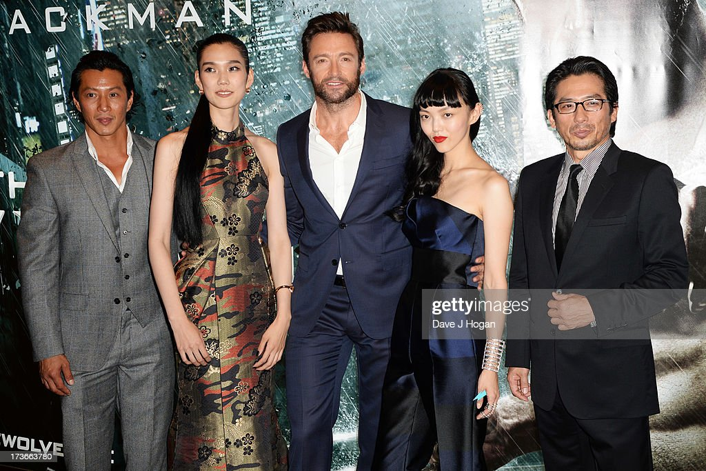 Will Yun Lee, Tao Okamoto, Hugh Jackman, Rila Fukushima and Hiroyuki Sanada attend the UK premiere of 'The Wolverine' at The Empire Leicester Square on July 16, 2013 in London, England.
