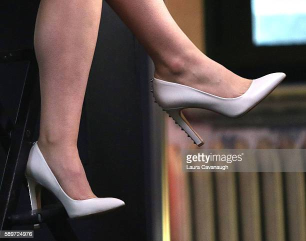 Willa Fitzgerald shoe detail attends AOL Build Presents to discuss 'Scream' and Film 'Freak Show' at AOL HQ on August 15 2016 in New York City