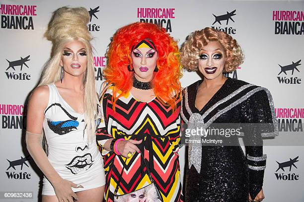 Willam Belli Jackie Beat and Bianca Del Rio attend the premiere of Wolfe Releasing's 'Hurricane Bianca' at The Renberg Theatre on September 21 2016...