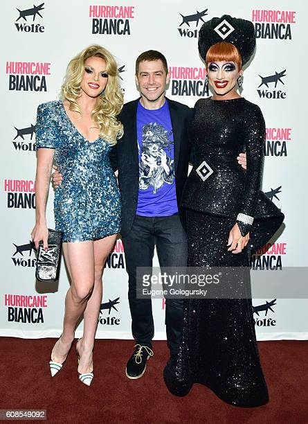 Willam Belli Matt Kugelman and Bianca Del Rio attend the US Premiere Of HURRICANE BIANCA Starring Bianca Del Rio at DGA Theater on September 19 2016...